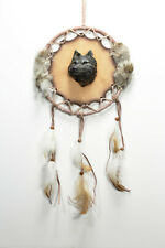 Wolf Head Mandella Shield Wall Hanging with Feathers, 6 34 inch diameter