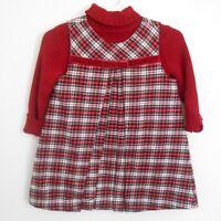 GYMBOREE Baby Girls Red Plaid Turtleneck Jumper Dress Size 6-12 Months VGUC