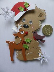 4 Large Reindeer & Robin Bear 3D Handmade Card Toppers Nan Grandma Mum Dad Kids