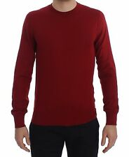 NEW $900 DOLCE & GABBANA Sweater Red Cashmere Crew-neck Pullover IT46 / US36/ S