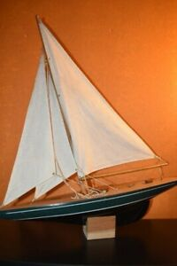 HandmadeVintage Wooden Sailboat Model with baseVintage & collectibles