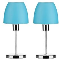 Set Of 2 Table Lamp Turquoise Plastic Shade With Chrome Finish Base Home Decor
