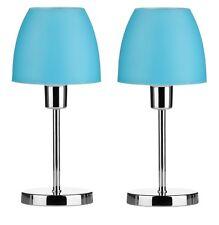 Set Of 2 Table Lamp Turquoise Plastic Shade With Chrome Finish Base Home Decor