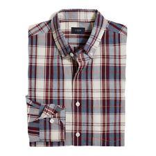 J Crew Factory - Mens XXL  Regular Fit - Burgundy/Blue Plaid Washed Cotton Shirt