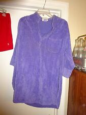 AVON Fashions Lavender Robe Size Large 3/4 Sleeve 1 Breast Pocket Cotton Poly
