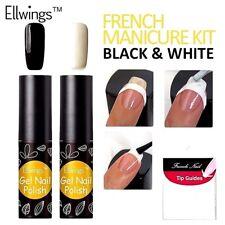 Orgánica Francés Manicura Pedicura Set Negro Y Blanco Esmalte de Uñas Art barniz gel