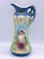 Antique Royal Wettina Robert Hanke Porcelain  Pitcher VaseAustria 7 1/2 Inch