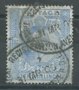 GB KEVII 1902 10/- ultramarine SG265 good used. (5997)