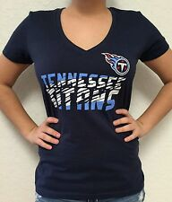 Women's Tennessee Titans Majestic Navy Blue V-Neck Tshirt