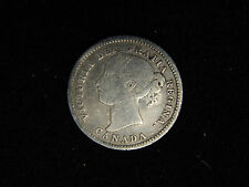 1874-H Canada 10 Cents Silver - Young Victoria F