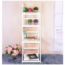 4 Layers Wood Ladder Shelf Bonsai Plant Unit Stand Retro Holder Rack White/Brown