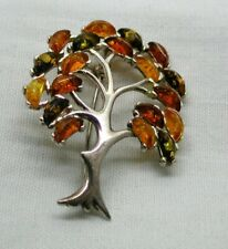 Vintage Silver And Fossilized Amber Tree of Life Brooch / Pendant