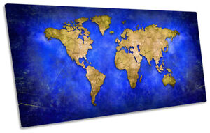 World Map Distressed Print PANORAMIC CANVAS WALL ART Picture Blue