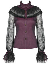 Punk Rave Womens Gothic Blouse Top Red Black Lace Steampunk Lolita Vampire Shirt