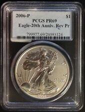 2006-P $1 American Silver Eagle (1oz) 20th Anniv. Reverse Proof Coin - PCGS PR69