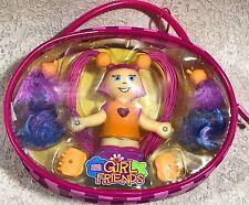 Mega Bloks GirlFriends 5 Piece Set Figure Hair Clips Pink Zipper Case Magnetic