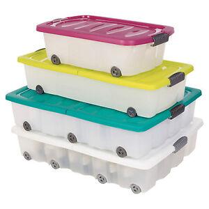 35L 45 70 Litre Large Under Bed Plastic Storage Box Wheeled w/Lids Shoes Clothes