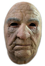 Old Man Mask Realistic Looking Latex Frontal Human Face Mask W/ Faux Hair