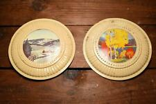 New listing 2 Antique Fireplace Stove Pipe Flue Hole Cover , Illustrated Scenes