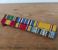Vintage WWII Army US Military Horizontal Pin Back Ribbon Rank Bar Victory Bar