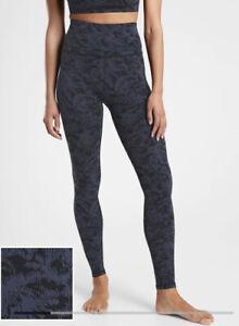 ATHLETA Elation Textured Tight Leggings Frosted Floral Black Blue Medium #631920