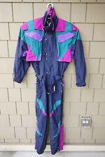 VINTAGE Couloir Ski Suit Onsie Small Jacket Coat Pants 80s 90s Teal Bib Retro