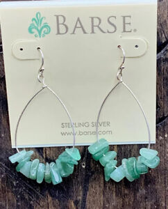 Barse Aventurine Wire Hoops- Sterling Silver- NWT