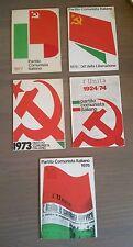 Lotto di 5 Tessere Partito Comunista Italiano Anni '70