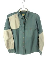 Cabelas Womens Small Shooting Shirt Forest Green Tan Long Sleeve Hunting