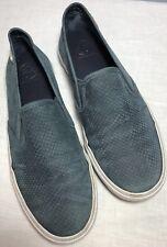 Tory Burch Lennon Snakeskin Embossed Blue Slip On Sneakers Size 7