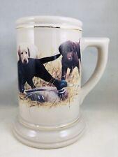 "VTG Ceramic Mug Stein 6.5"" Labrador Retriever Puppies Duck Hunting Gold MINT"