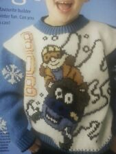 NEW Bob The Builder Sleigh Sledging Knitting Pattern Jumper Sweater Pull Out DK