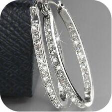 Women's 9K Gold Filled Silver Crystal Big Hoop Huggie Earrings Party Jewelry