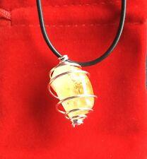 Citrine Spirale 925 Plaqué Poli pendentif roulé Cristal Haute Qualité Chakras
