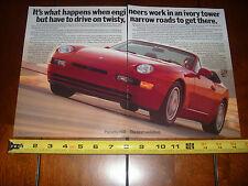 1992 PORSCHE 968  - ORIGINAL 2 PAGE AD