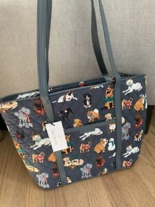 Vera Bradley Holiday Dogs Best In Show Small Trimmed Vera Tote Purse Bag NWT
