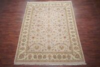 Fine 9X12 Chobi Peshawar Hand-Knotted Area Rug Wool Light-Brown Carpet