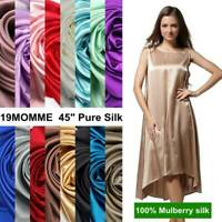 """19 Momme 100% Pure Mulberry Silk Fabric 45"""" Wide Dressmaking Sewing Solid Silk"""