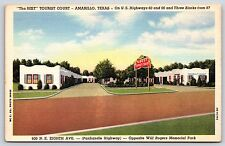 Tha Best Tourist Court in Amarillo, Texas Highway 60 & 66 Linen Postcard Unused