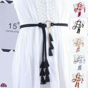 Tassel Belt Women Thin Waist Rope Fashion Belt Ladies Braided Self Tie Belts UK