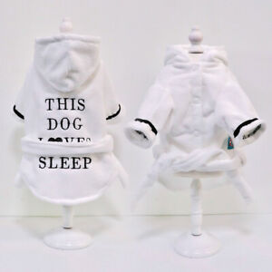 Cute Small Large Dog Fleece Pajamas Soft Cat Hoodie Clothes Bathrobe Nightdress