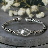 925 Sterling Silver Women Bracelet Twisted Rope Bangle Adjustable Thai Jewelry
