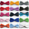 Children Boys Kids Bowtie Pre Tied Wedding Party School Solid satin Bow Tie