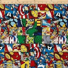 Springs ~ Marvel Comics Patch ~ Hulk Ironman Thor ~ 100% Cotton Quilt Fabric BTY