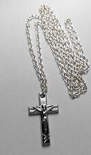 CRUZ CRUCIFIJO Amuleto Plata Tibetano, Largo ( 76.2cm ) Collar De Cadena