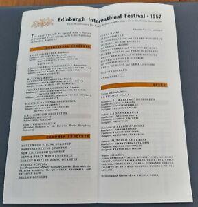 1957 Maria Callas Dennis Brain Poulenc Rafael Kubelik Edinburgh Festival Flyer