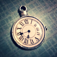 Clock Charm Antiqued Silver Steampunk Pendant Enameled Pocket Watch