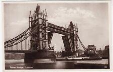 PADDLE STEAMER AT TOWER BRIDGE - London - 1931 used Real Photo postcard