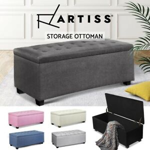 Artiss Storage Ottoman Blanket Box PU Leather Fabric Chest Toy Foot Stool LARGE