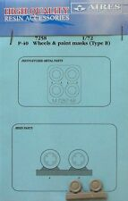 Aires 1/72 P-40 Wheels and Paint Masks (Type B) for Academy kit # 7258